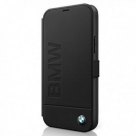 BMW – Etui folio noir pour Iphone 12 Mini logo embossed