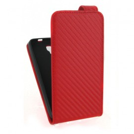 Etui Bouygues BS471 aspect carbone rouge