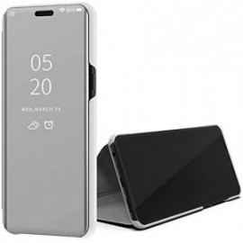 Etui pour Xiaomi MI 10T Pro Folio stand effet miroir argent
