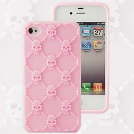 Housse minigel tête de mort rose iPhone 4/4S