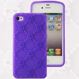 Housse minigel tête de mort violette iPhone 4/4S